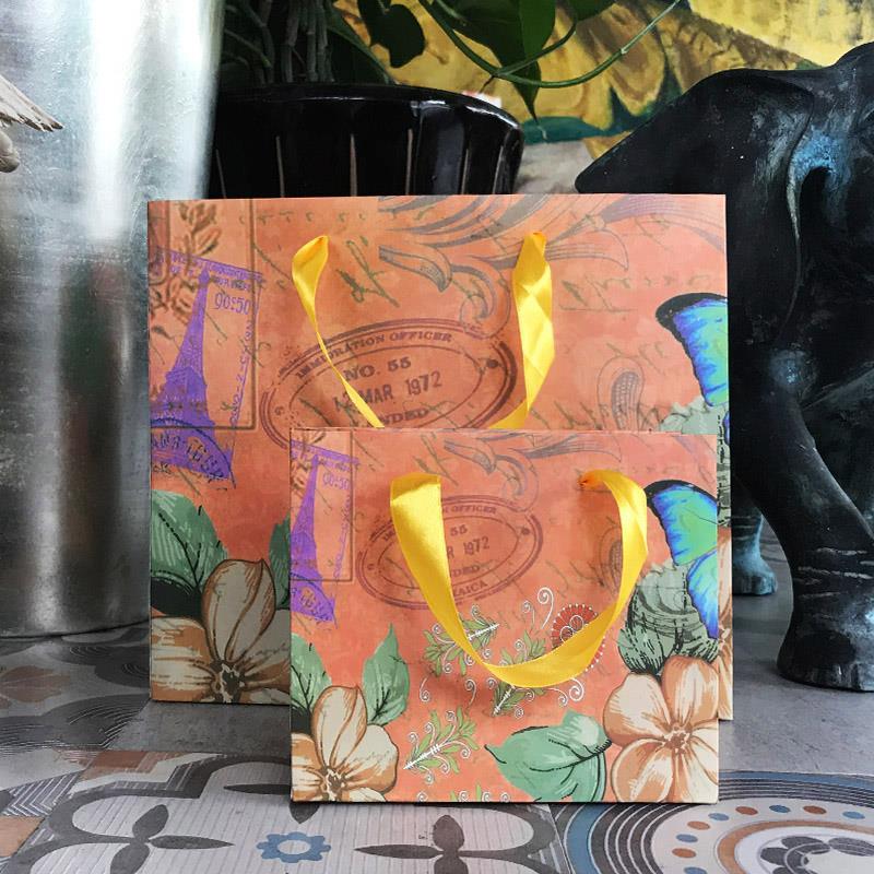 巴黎街头范纸袋包装袋欧美风复古文艺礼品袋手提袋购物袋现货