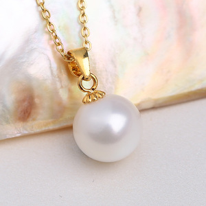 Natural Pearl Pendant Female Single Necklace Korean Temperament Simple Wild Freshwater Pendant S925 Sterling Silver Clavicle Chain
