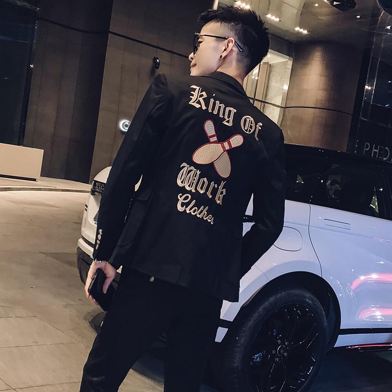 2019秋季新款潮男小西装两件套潮牌时尚个性百搭西服两件套网红