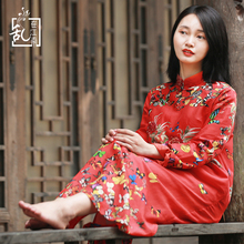 2021春式民族风苎麻pi8花连衣裙fm棉麻品牌复古春装长裙女装