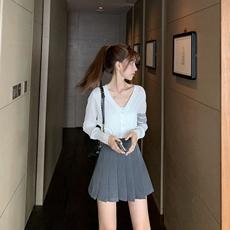 网红定制学院风高腰百褶裙女夏季显瘦A字短裙时尚半身裙