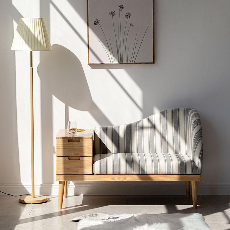 小户型实木布艺沙发换鞋凳民宿多功能单人休闲带储物收纳日式沙发