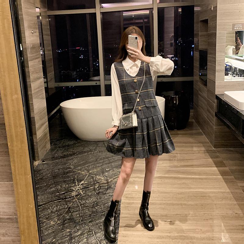 两件套背心连衣裙秋冬韩版裙子