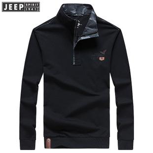 正品JEEP男装春秋季立领套头卫衣中年宽松长袖t恤战地品牌打底衫