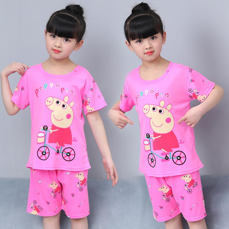 小猪佩奇女童睡衣夏季套装 薄款 公主中大童女孩夏装短袖夏天儿童