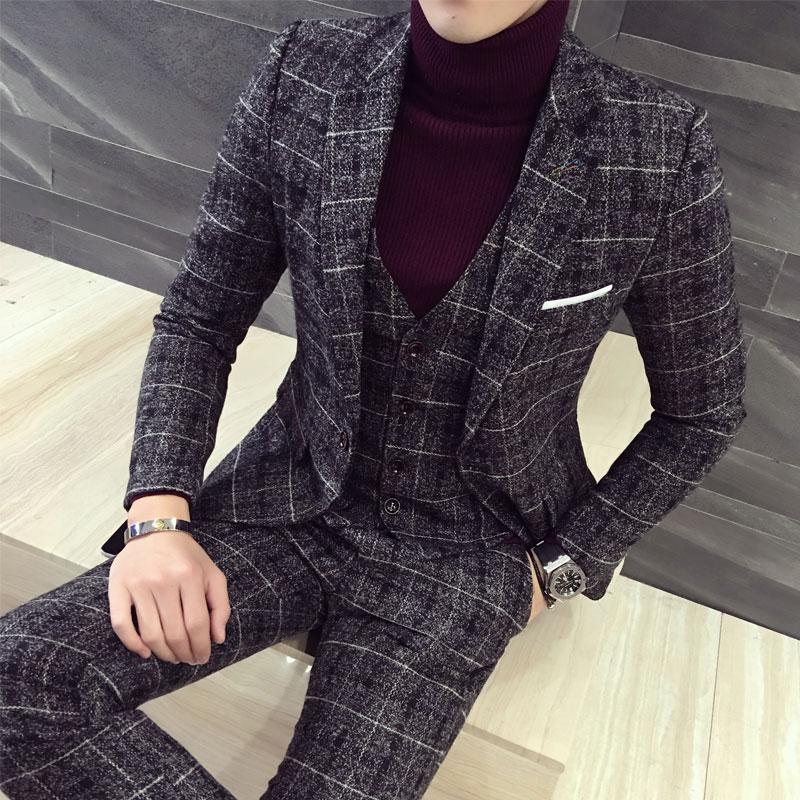 新款韩版格子西服套装男三件套英伦西服男套装结婚礼服伴郎潮男款