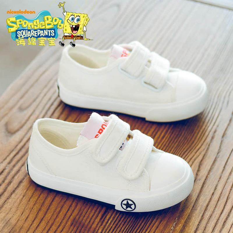 海绵宝宝男童白鞋儿童小白帆布鞋板鞋女童布鞋2017秋新款韩版鞋子