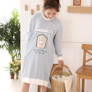 春秋季睡裙女装长袖纯棉韩版可爱宽松清新学生大码胖mm睡衣可外穿