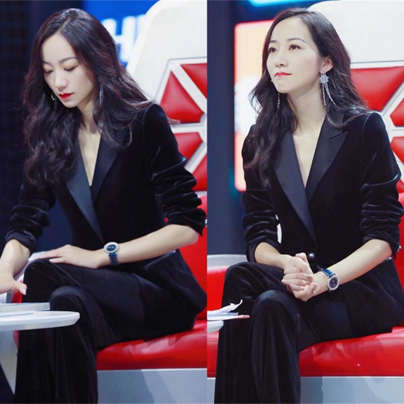 韩国秋冬金丝绒西装套装女休闲时尚气质职业OL黑色西服长裤两件套
