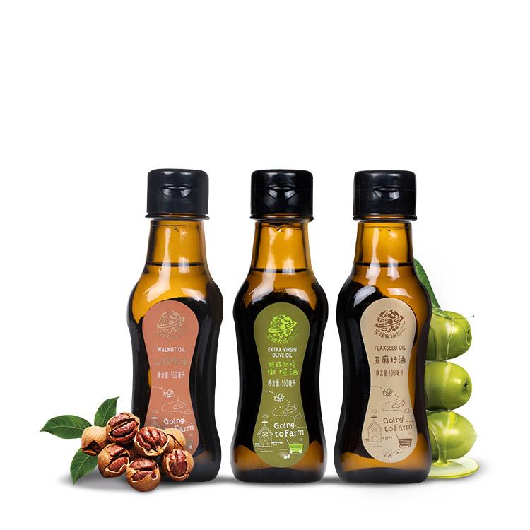 星球农场宝宝食用油组合小瓶核桃油亚麻籽油橄榄油6m+  辅食