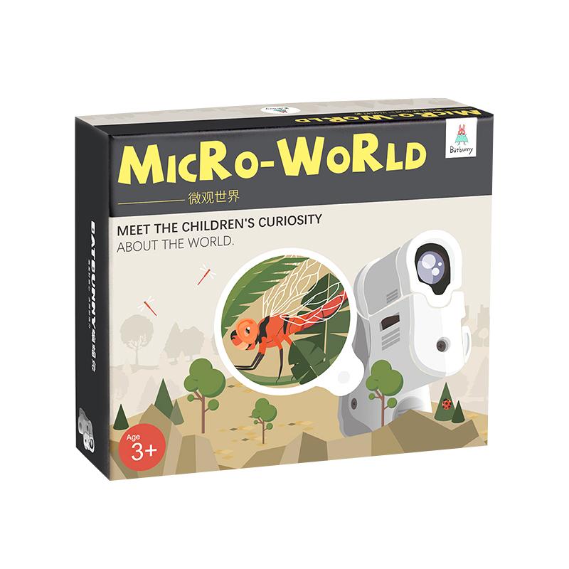 蝙蝠兔微观世界便携60倍高清儿童显微镜套装科学实验送绘本标本书