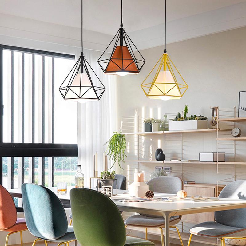 北欧餐厅吊灯三头现代咖啡厅酒吧台灯具简约创意钻石饭厅个性灯饰