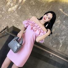 泰国潮牌2021新式度假抹胸一yu12领漏背ke感连衣裙女