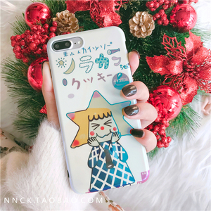 Japan and South Korea Cartoon Cute Blue Laser Apple 8 Mobile Shell iPhonex/7/6s/plus All-inclusive Soft shell Women