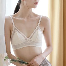 米图超薄款透气法式无钢圈内衣女性感少女大胸显小胸三角杯文胸罩