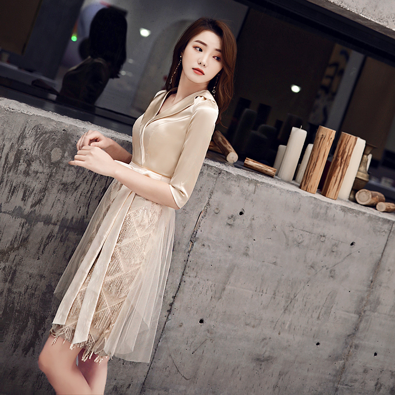 小晚礼服女宴会气质高贵优雅简单大方伴娘平时可穿生日派对连衣裙满798元减50元