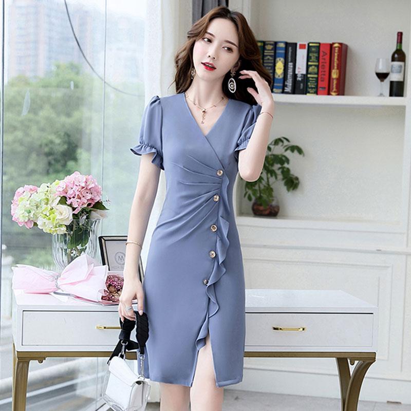 酷伽夏季新款韩版复古港风褶皱修身显瘦气质中长款连衣裙女8019