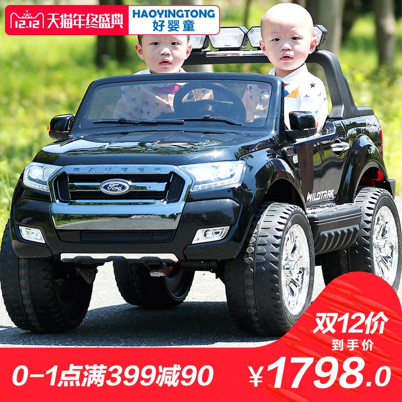 福特儿童电动车四轮四驱越野车带遥控小孩汽车玩具车可坐人超大号
