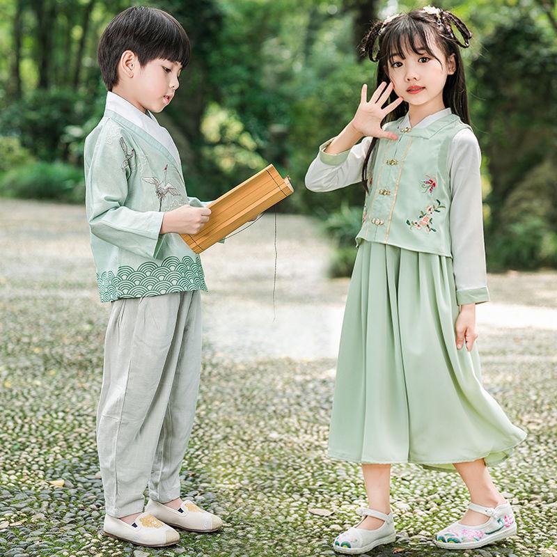 汉服男童秋中国风古装儿童复古改良秋装宝宝中式棉麻唐装表演衣服