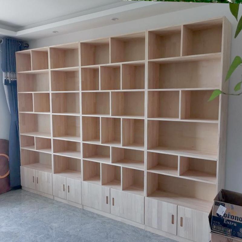 定制定做书柜整墙实木书架置物架自由组合学生家用简约落地格子柜