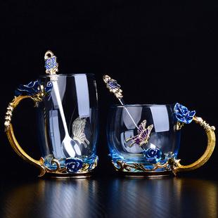 珐琅彩水杯玻璃杯子女家用洛施花舍玫瑰花茶杯套装耐热创意礼物