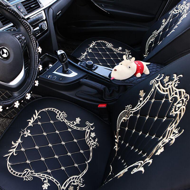 汽车坐垫四季通用全包围座套冬季布艺新款卡通座椅女士专用座垫红