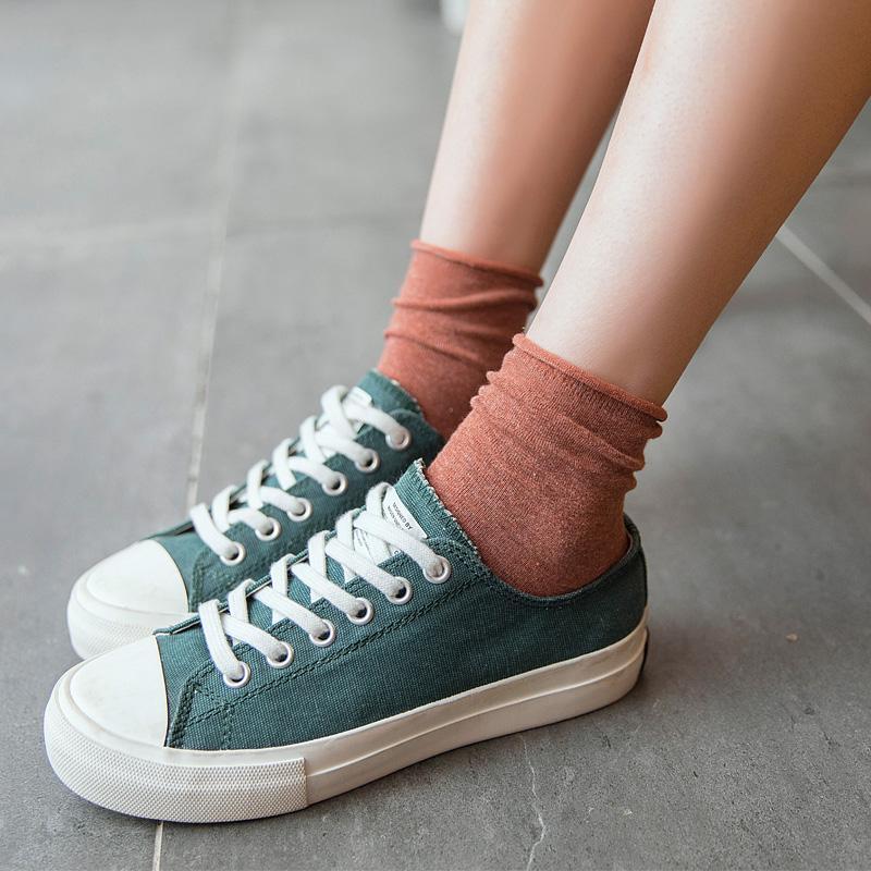 夏季堆堆袜女韩国薄款纯棉日系韩版袜子女中筒袜学院风学生长袜潮