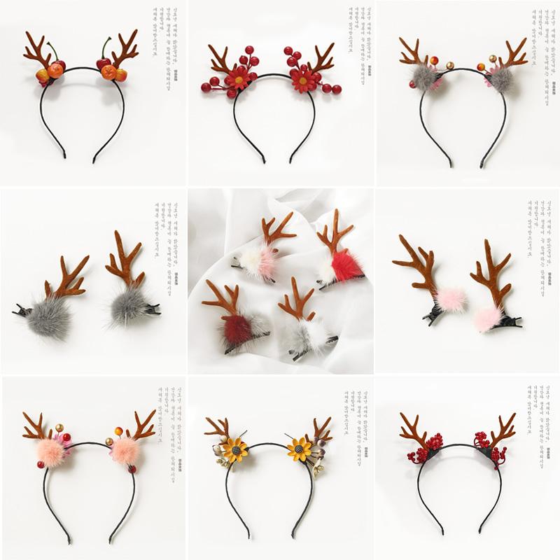 日韩森女鹿角发箍写真道具麋鹿头箍圣诞节头饰发饰发夹造型发卡