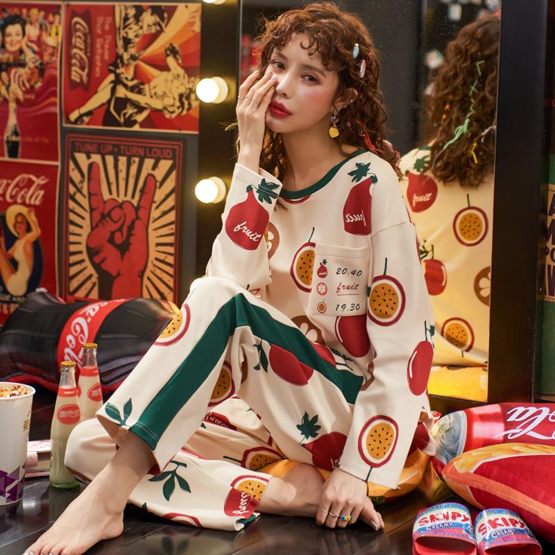 睡衣女春秋季纯棉长袖两件套装韩版甜美清新学生家居服可外穿秋冬