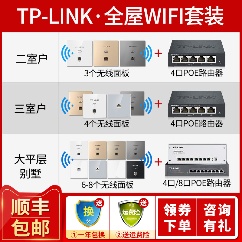 TP-LINK家用86型wifi插座全屋wifi无线AP面板路由器AP1202GI-POE