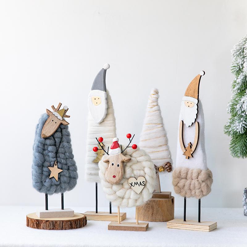Hromeo 圣诞节装饰北欧羊毛毡麋鹿老人桌面摆件店铺前台圣诞装饰