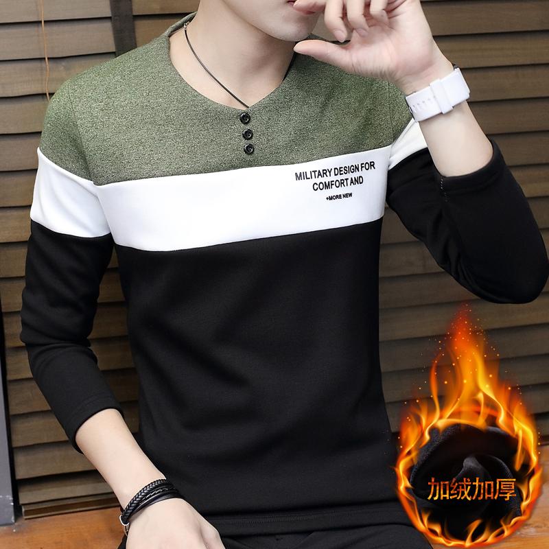 鼕季加絨t恤男韓版修身男裝長袖打底衫鼕裝加厚保暖衣服潮流上衣