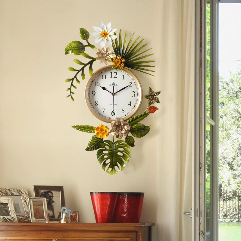 田园创意潮流美式客厅挂钟表北欧式简约艺术时钟家用挂表
