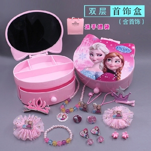 Children's jewelry box princess jewelry set ice and snow necklace girl bracelet girls hair accessories storage cosmetic box gift