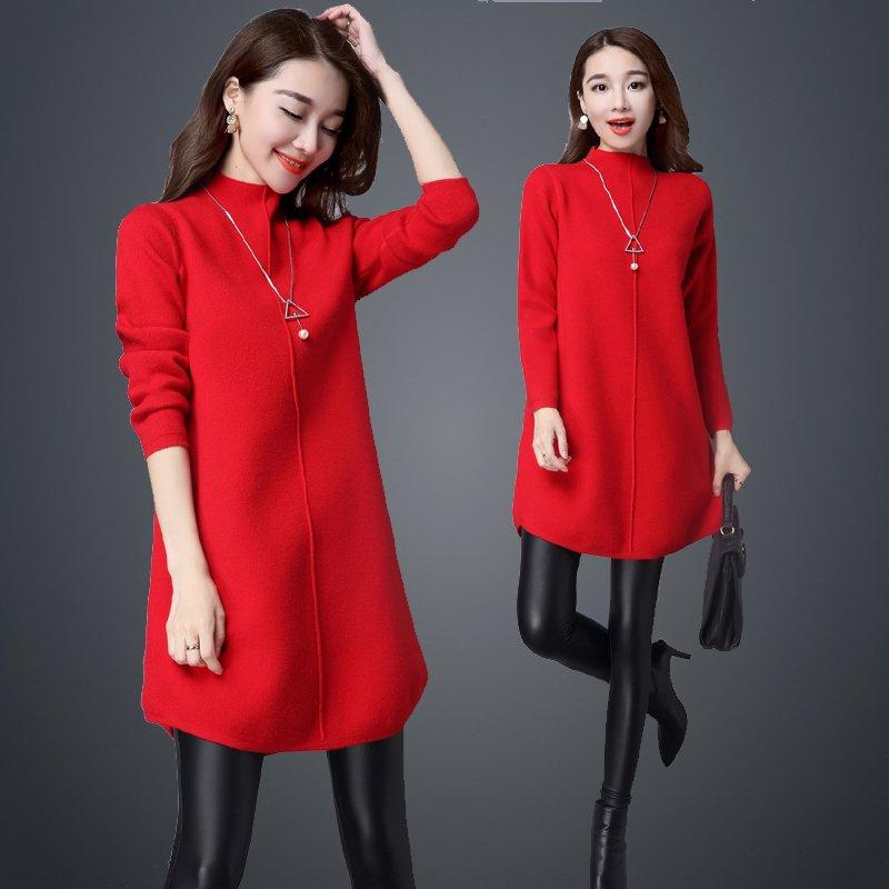 冬季本命年红色羊毛羊绒衫韩版半高领毛衣女套头中长款打底针织厚
