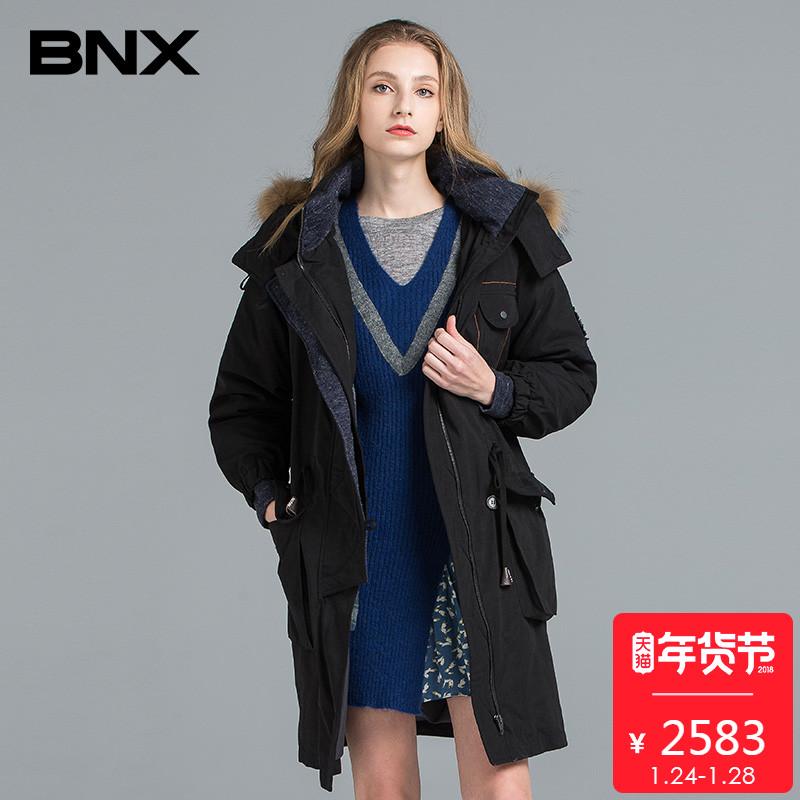 BNX秋冬新品女装貉子毛领双门襟连帽白鸭绒羽绒服BODHT012X0