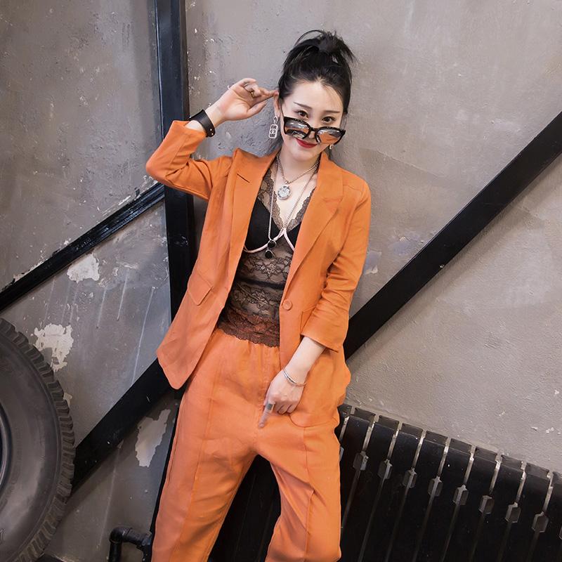 2019夏季新款韩版休闲显瘦棉麻小西装外套九分裤套装两件套女时尚