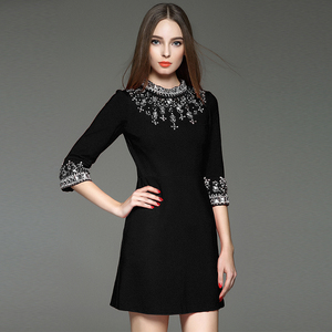 Europe Station Spring Fashion Handmade Beaded Diamond Black Dress Slim Cropped Sleeve Stand Collar Red Dress