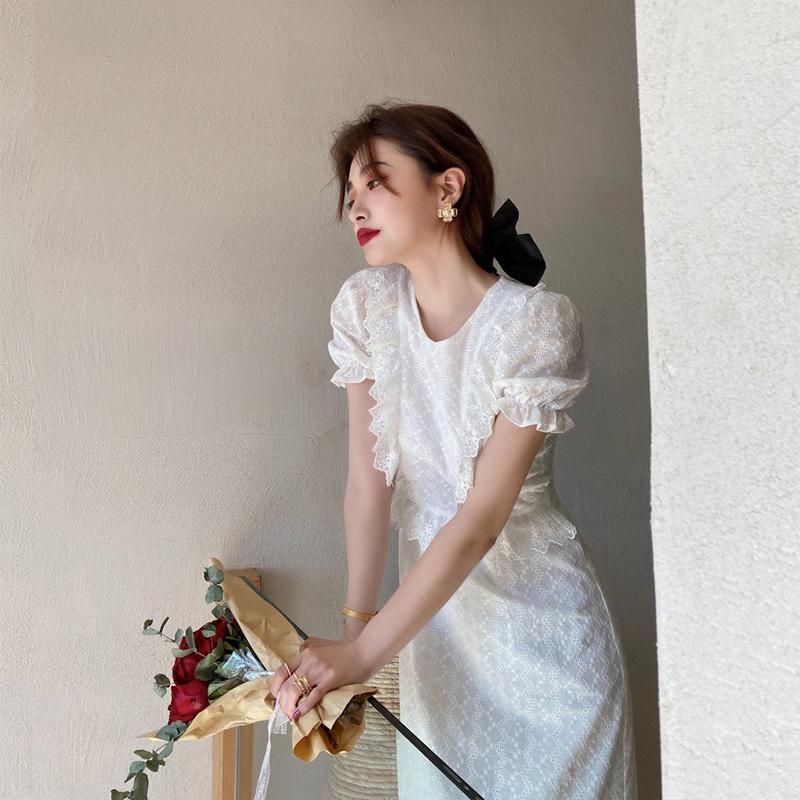 赫本风小白裙法式初恋长裙脚踝仙气森系仙女长款白色蕾丝连衣裙夏