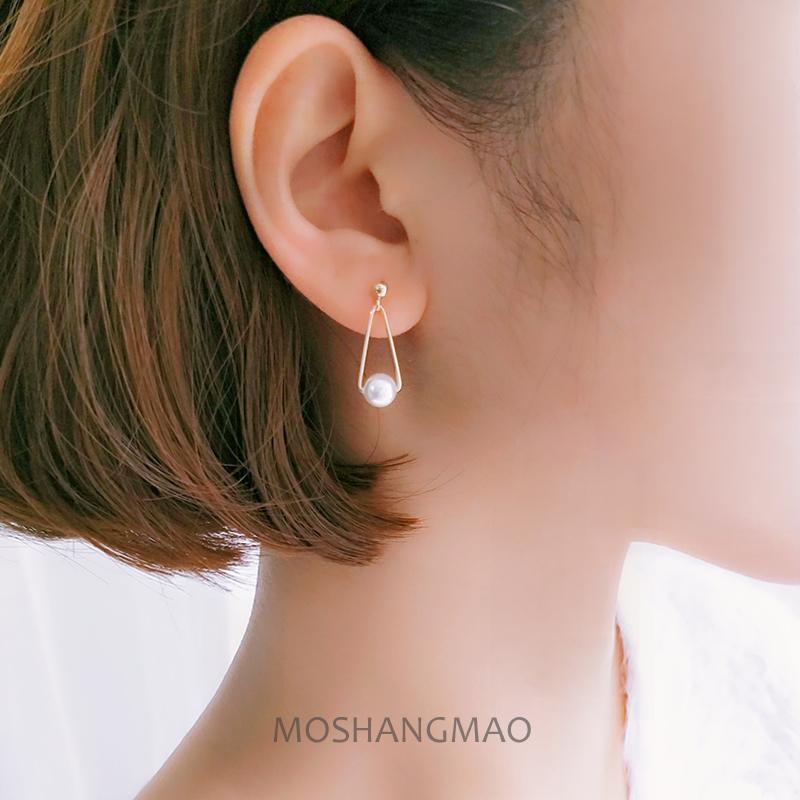美国14k包金几何三角形珍珠耳钉日韩耳环气质耳