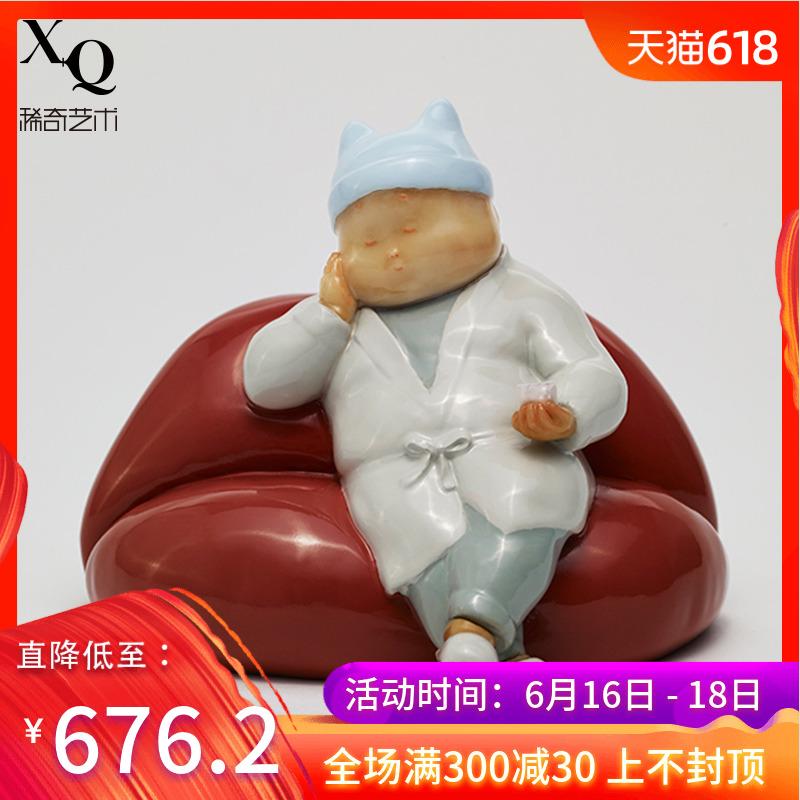 稀奇艺术瞿广慈雕塑作品《我想你了》Mini桌面摆件情侣礼物