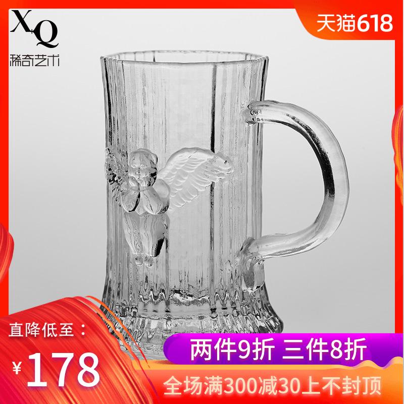稀奇艺术天使浮雕玻璃古典啤酒杯子酒具时光条纹一杯子