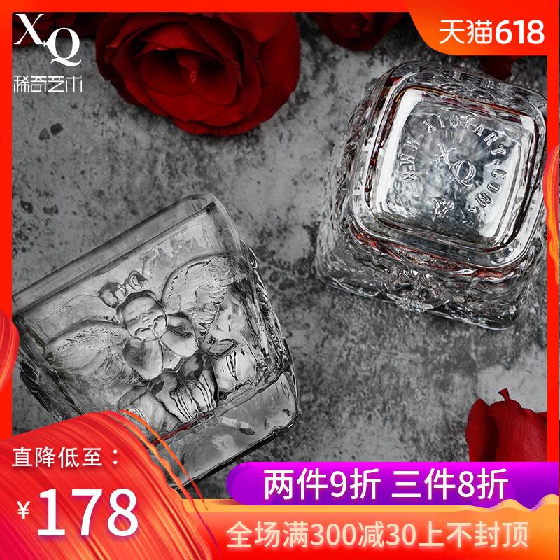 稀奇艺术罗马之心方形威士忌酒杯古典复古酒杯子水晶玻璃杯