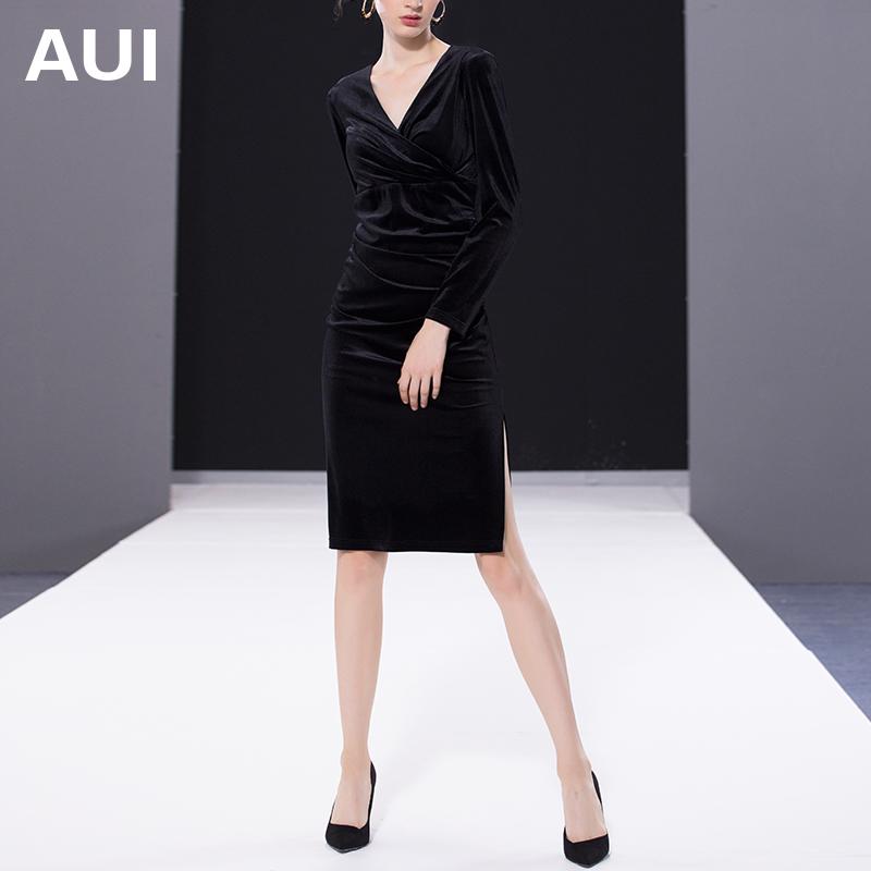 aui欧洲站2020年春装新款女装欧货裙子女修身显瘦黑色丝绒连衣裙