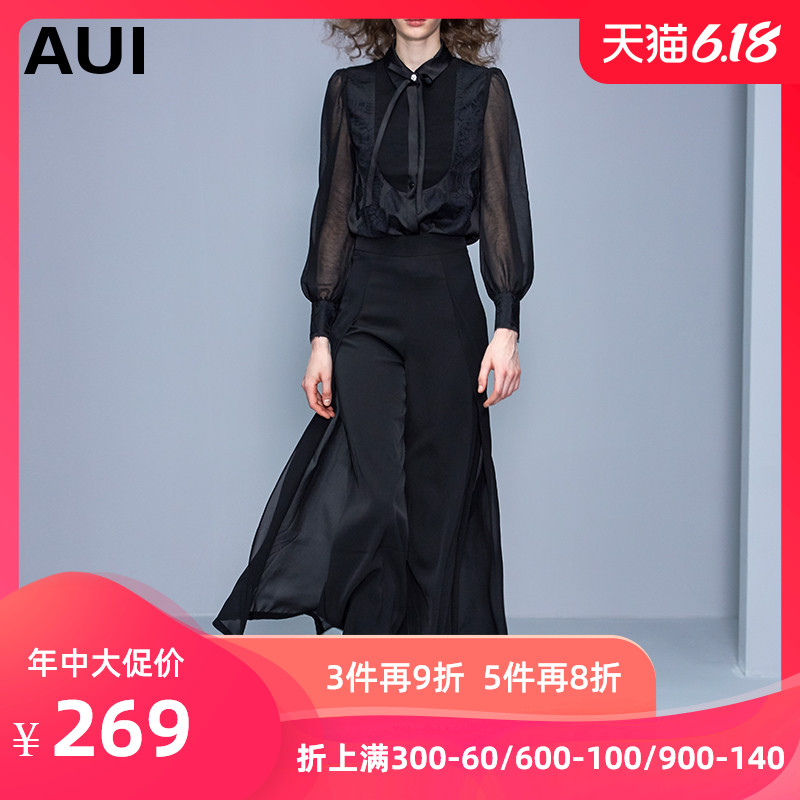 2019春秋装新款衬衣欧美时尚女装黑色欧根纱衬衫女设计感小众上衣