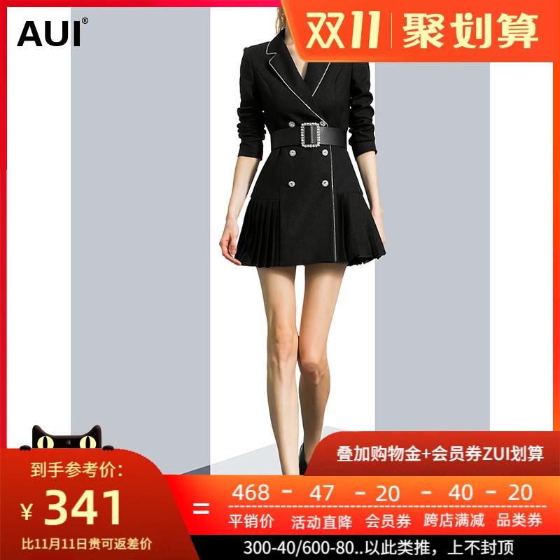 黑色名媛气质设计感小众西装女秋冬2020新款时尚拼接百褶西服外套