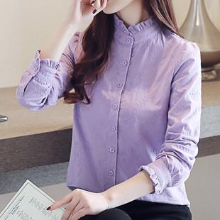 紫色衬衫女长袖修身显瘦木耳边立