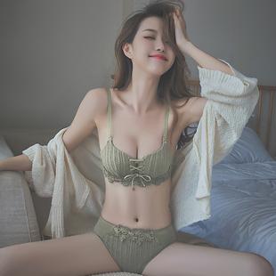 原创】内衣女小胸罩聚拢无钢圈调整型平文胸性惑内裤套装薄款夏季