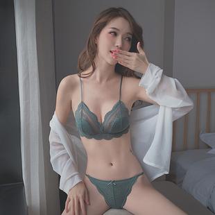 性感惑法式内衣女超薄款聚拢无钢圈大胸显小蕾丝三角杯文胸套装夏