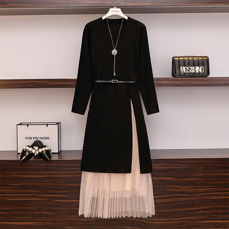 早秋大码女装显套装高个子女装170气质秋装气质毛衣连衣裙两件套